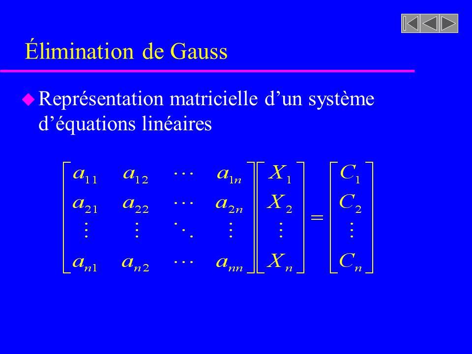 Élimination de Gauss u Représentation matricielle dun système déquations linéaires