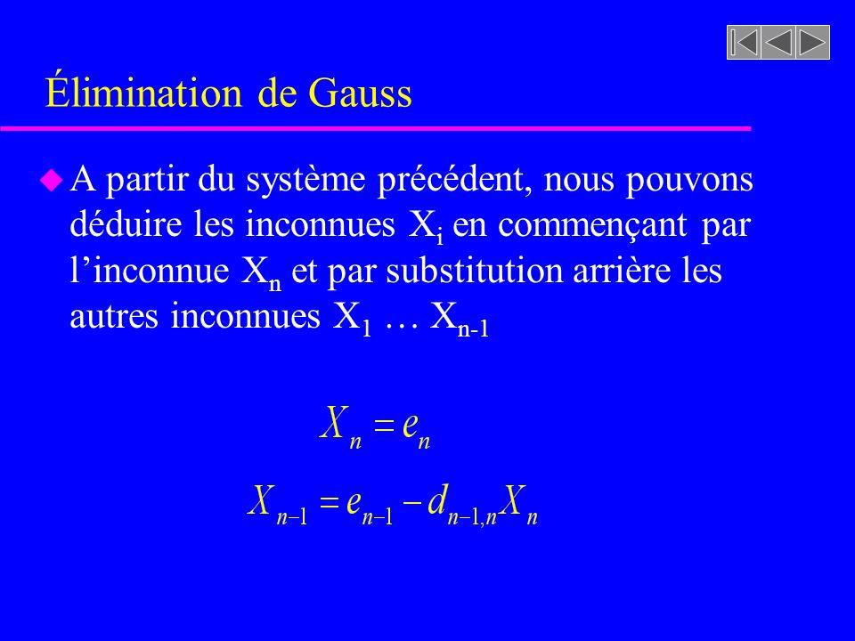 Élimination de Gauss u A partir du système précédent, nous pouvons déduire les inconnues X i en commençant par linconnue X n et par substitution arrière les autres inconnues X 1 … X n-1
