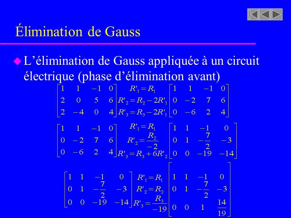 Élimination de Gauss u Lélimination de Gauss appliquée à un circuit électrique (phase délimination avant)