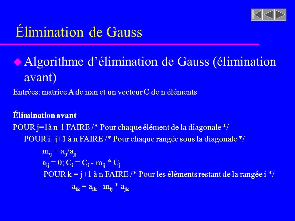 Élimination de Gauss u Algorithme délimination de Gauss (élimination avant) Entrées: matrice A de nxn et un vecteur C de n éléments Élimination avant POUR j=1à n-1 FAIRE /* Pour chaque élément de la diagonale */ POUR i=j+1 à n FAIRE /* Pour chaque rangée sous la diagonale */ m ij = a ij /a jj a ij = 0; C i = C i - m ij * C j POUR k = j+1 à n FAIRE /* Pour les éléments restant de la rangée i */ a ik = a ik - m ij * a jk