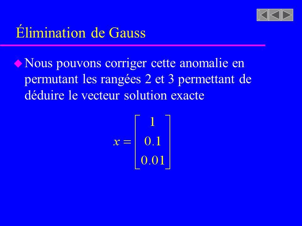 Élimination de Gauss u Nous pouvons corriger cette anomalie en permutant les rangées 2 et 3 permettant de déduire le vecteur solution exacte