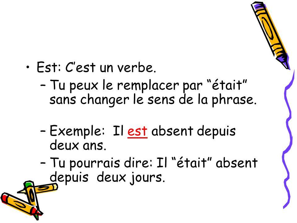 Est: Cest un verbe. –Tu peux le remplacer par était sans changer le sens de la phrase. –Exemple: Il est absent depuis deux ans. –Tu pourrais dire: Il