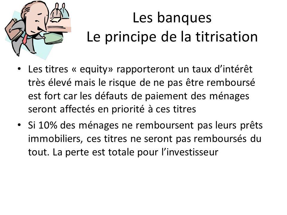 Les banques Le principe de la titrisation Les titres « equity» rapporteront un taux dintérêt très élevé mais le risque de ne pas être remboursé est fo