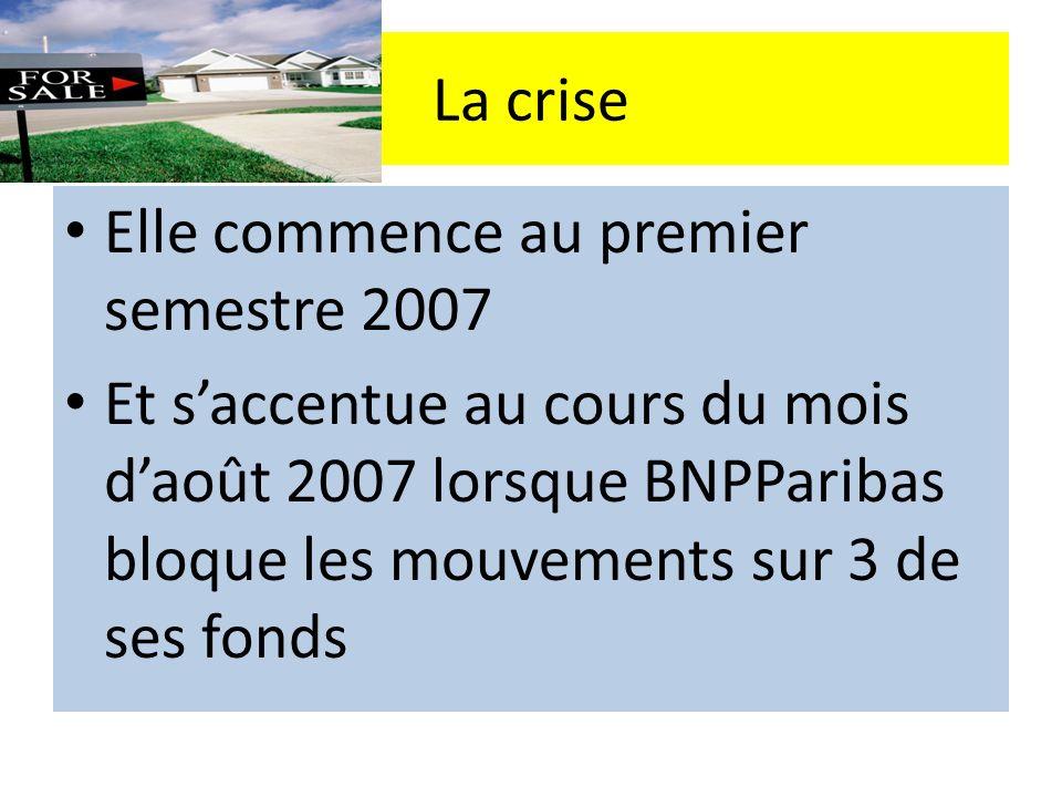 La crise Elle commence au premier semestre 2007 Et saccentue au cours du mois daoût 2007 lorsque BNPParibas bloque les mouvements sur 3 de ses fonds