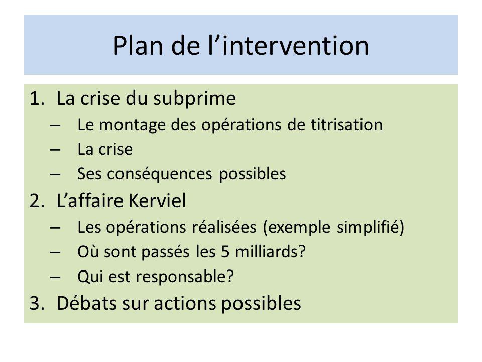 Plan de lintervention 1.La crise du subprime – Le montage des opérations de titrisation – La crise – Ses conséquences possibles 2.Laffaire Kerviel – L