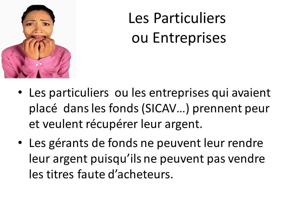Les Particuliers ou Entreprises Les particuliers ou les entreprises qui avaient placé dans les fonds (SICAV…) prennent peur et veulent récupérer leur argent.