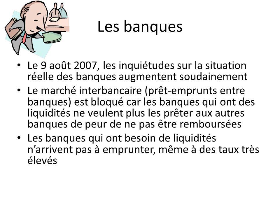 Les banques Le 9 août 2007, les inquiétudes sur la situation réelle des banques augmentent soudainement Le marché interbancaire (prêt-emprunts entre b