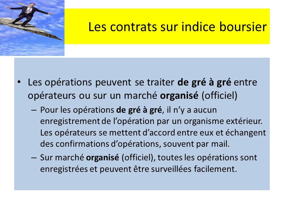 Les contrats sur indice boursier Les opérations peuvent se traiter de gré à gré entre opérateurs ou sur un marché organisé (officiel) – Pour les opérations de gré à gré, il ny a aucun enregistrement de lopération par un organisme extérieur.