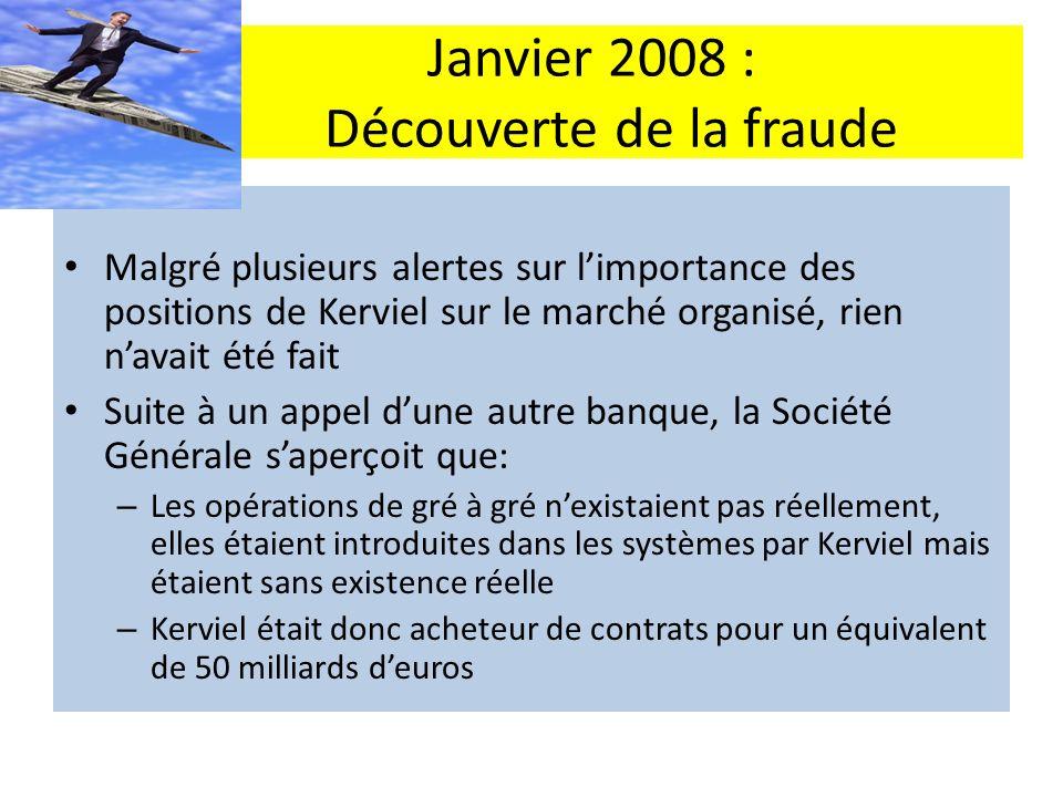 Janvier 2008 : Découverte de la fraude Malgré plusieurs alertes sur limportance des positions de Kerviel sur le marché organisé, rien navait été fait