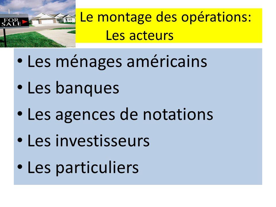 Le montage des opérations: Les acteurs Les ménages américains Les banques Les agences de notations Les investisseurs Les particuliers
