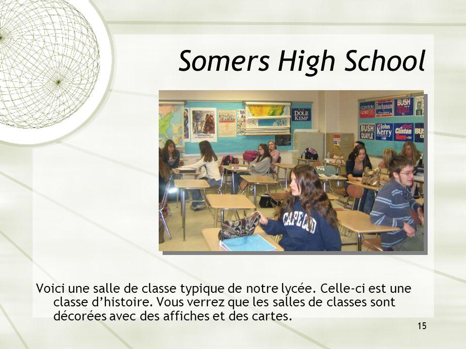 15 Somers High School Voici une salle de classe typique de notre lycée. Celle-ci est une classe dhistoire. Vous verrez que les salles de classes sont