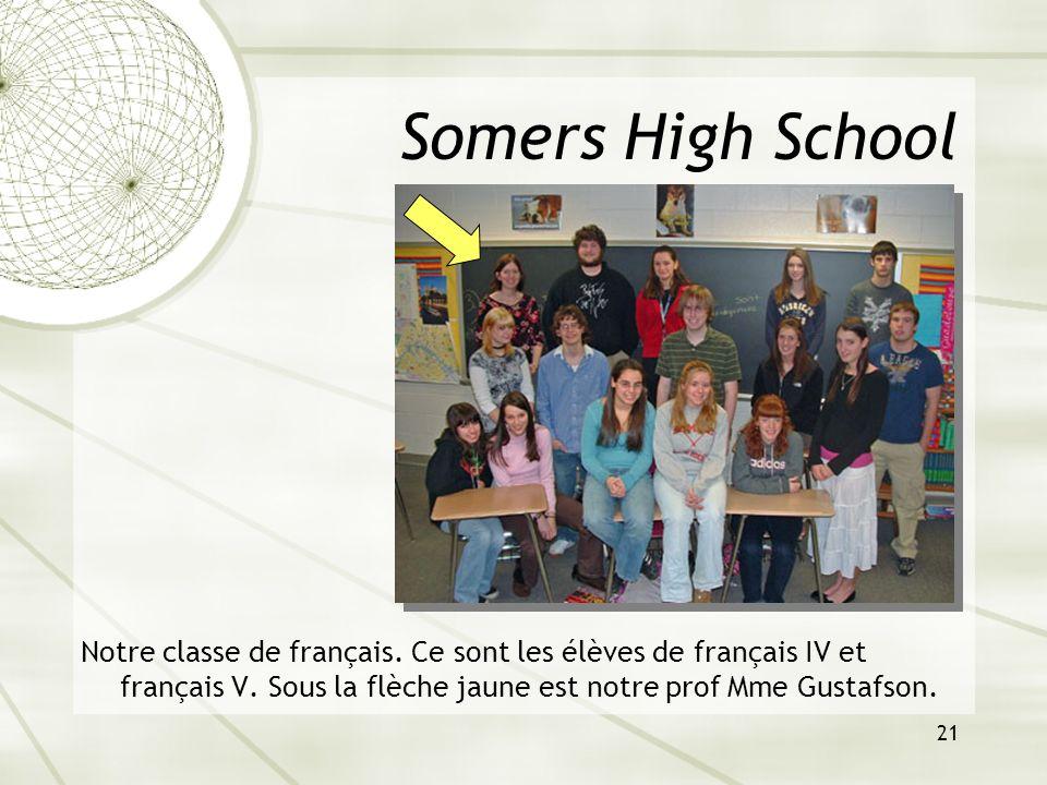 21 Somers High School Notre classe de français. Ce sont les élèves de français IV et français V. Sous la flèche jaune est notre prof Mme Gustafson.