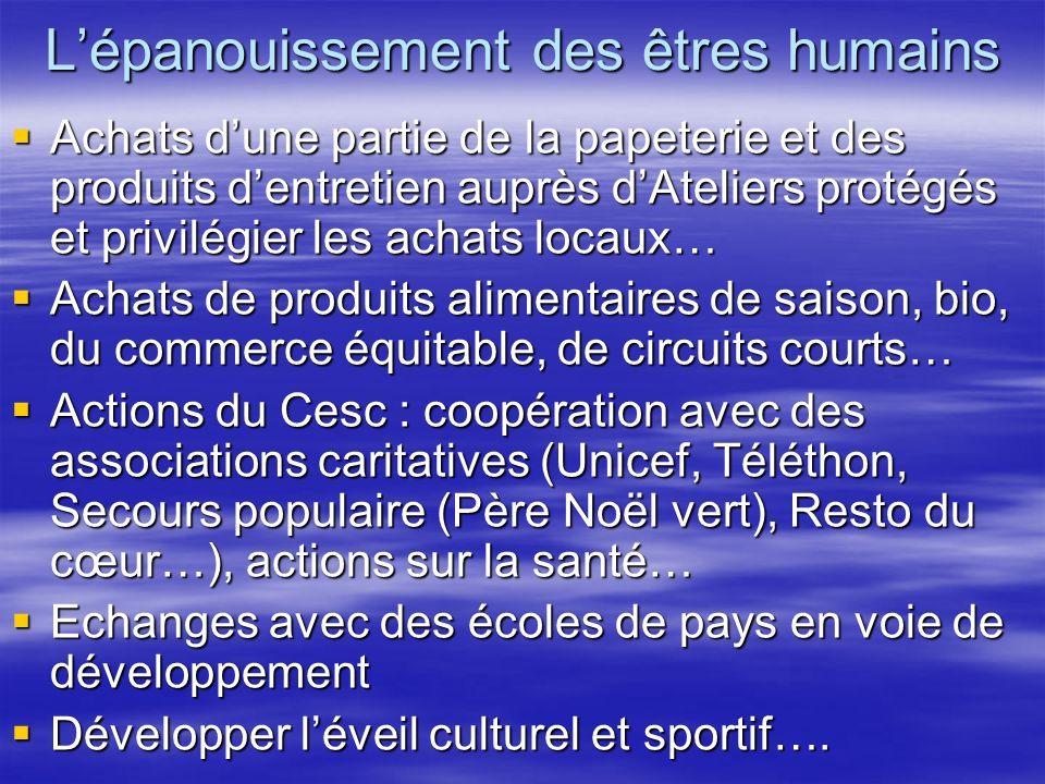 Lépanouissement des êtres humains Achats dune partie de la papeterie et des produits dentretien auprès dAteliers protégés et privilégier les achats lo