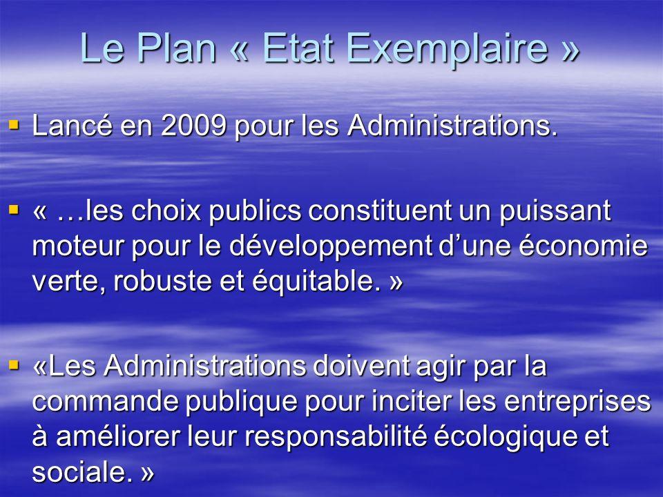 Le Plan « Etat Exemplaire » Lancé en 2009 pour les Administrations. Lancé en 2009 pour les Administrations. « …les choix publics constituent un puissa