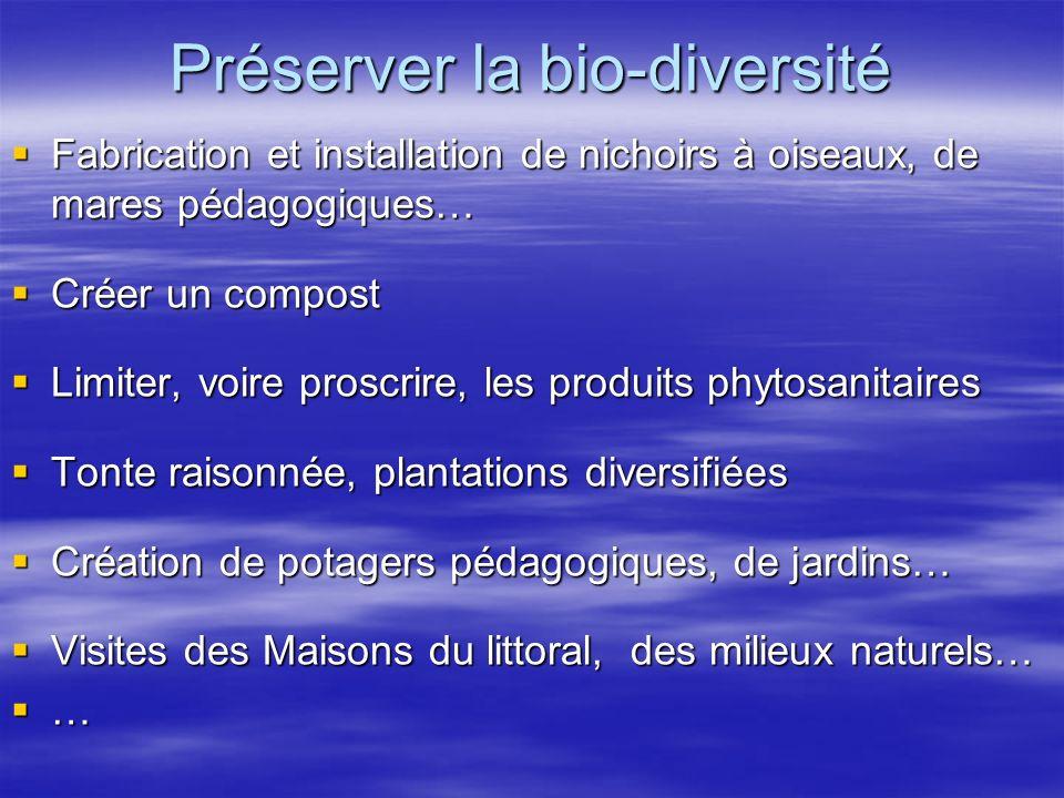 Préserver la bio-diversité Fabrication et installation de nichoirs à oiseaux, de mares pédagogiques… Fabrication et installation de nichoirs à oiseaux