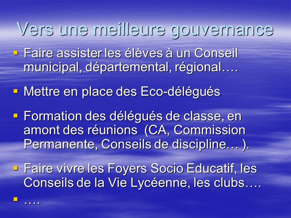 Vers une meilleure gouvernance Faire assister les élèves à un Conseil municipal, départemental, régional…. Faire assister les élèves à un Conseil muni