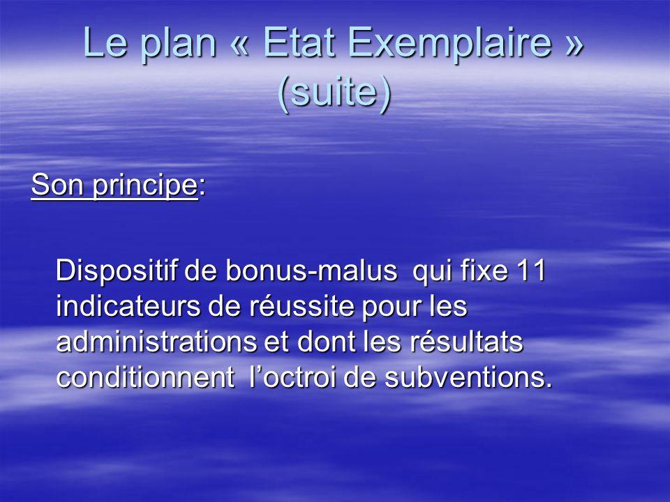 Le plan « Etat Exemplaire » (suite) Son principe: Dispositif de bonus-malus qui fixe 11 indicateurs de réussite pour les administrations et dont les r
