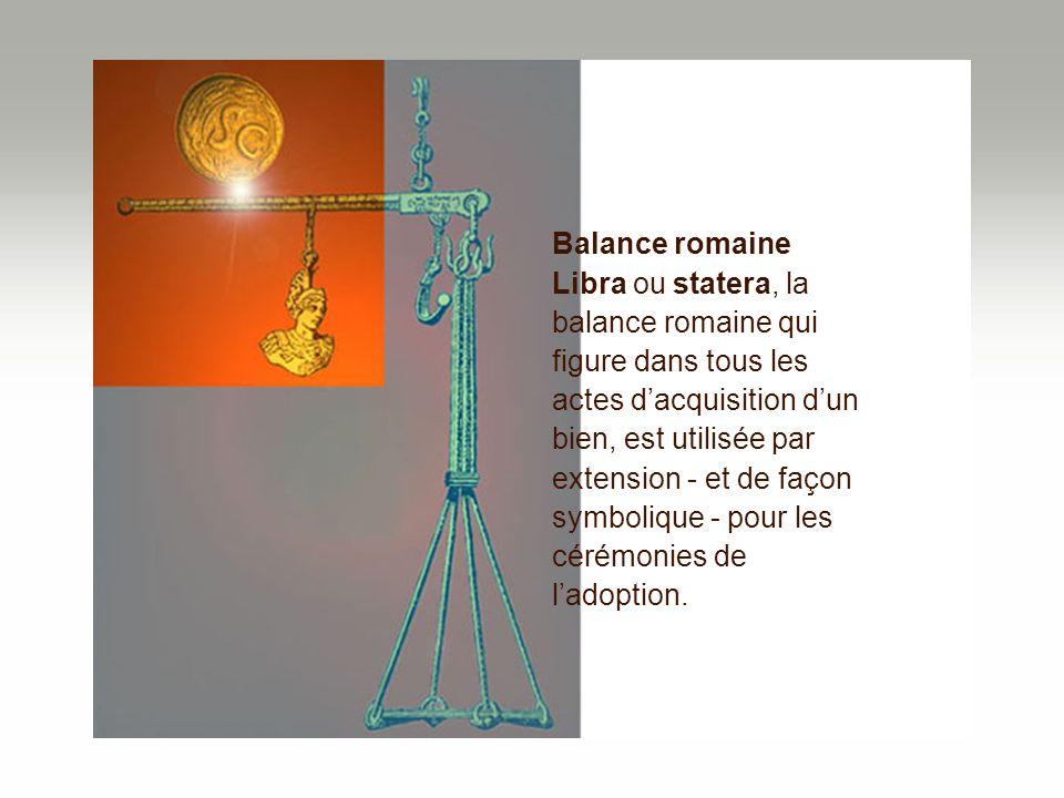 Balance romaine Libra ou statera, la balance romaine qui figure dans tous les actes dacquisition dun bien, est utilisée par extension - et de façon sy