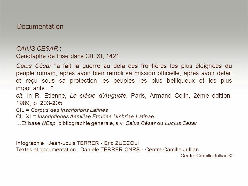 Documentation CAIUS CESAR : Cénotaphe de Pise dans CIL XI, 1421 Caius César