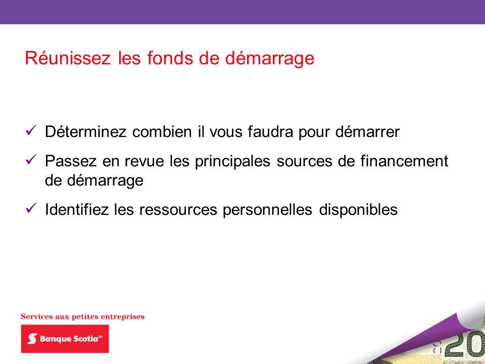 Déterminez combien il vous faudra pour démarrer Passez en revue les principales sources de financement de démarrage Identifiez les ressources personne