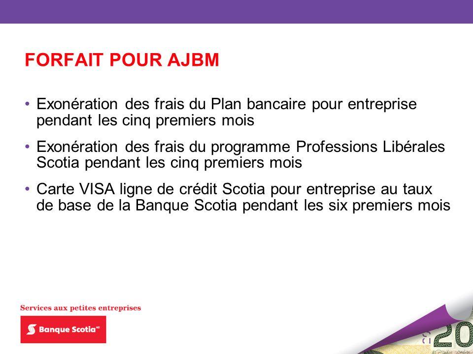 FORFAIT POUR AJBM Exonération des frais du Plan bancaire pour entreprise pendant les cinq premiers mois Exonération des frais du programme Professions