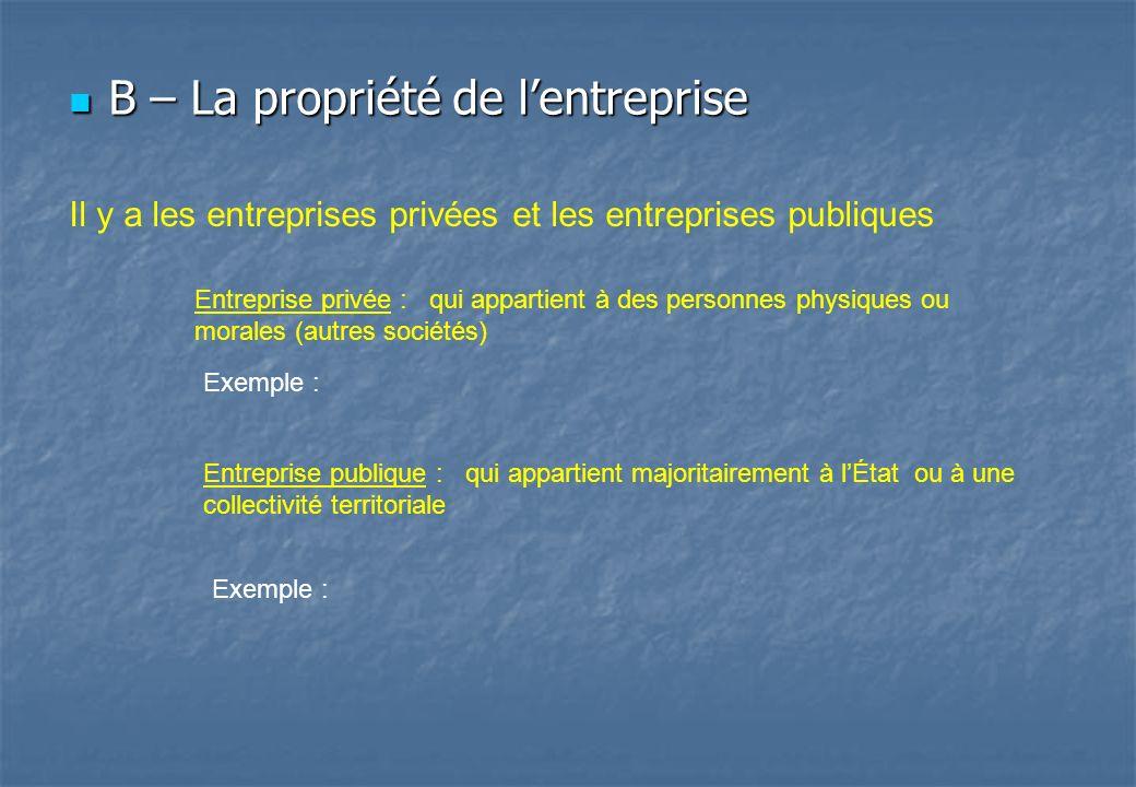 B – La propriété de lentreprise B – La propriété de lentreprise Il y a les entreprises privées et les entreprises publiques Entreprise privée : qui ap