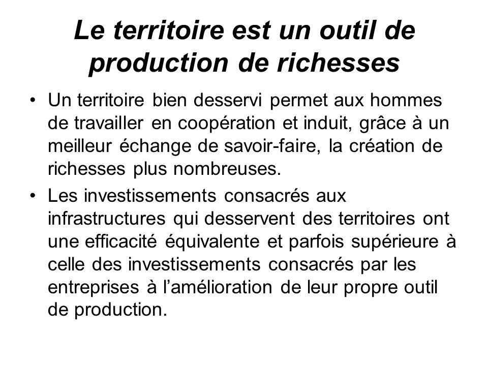 Le territoire est un outil de production de richesses Un territoire bien desservi permet aux hommes de travailler en coopération et induit, grâce à un meilleur échange de savoir-faire, la création de richesses plus nombreuses.
