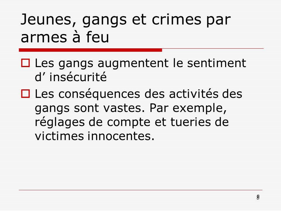 8 8 Jeunes, gangs et crimes par armes à feu Les gangs augmentent le sentiment d insécurité Les conséquences des activités des gangs sont vastes. Par e