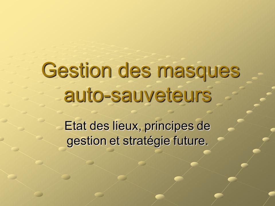 Gestion des masques auto-sauveteurs Gestion des masques auto-sauveteurs Etat des lieux, principes de gestion et stratégie future.