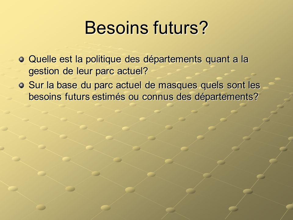 Besoins futurs? Quelle est la politique des départements quant a la gestion de leur parc actuel? Sur la base du parc actuel de masques quels sont les