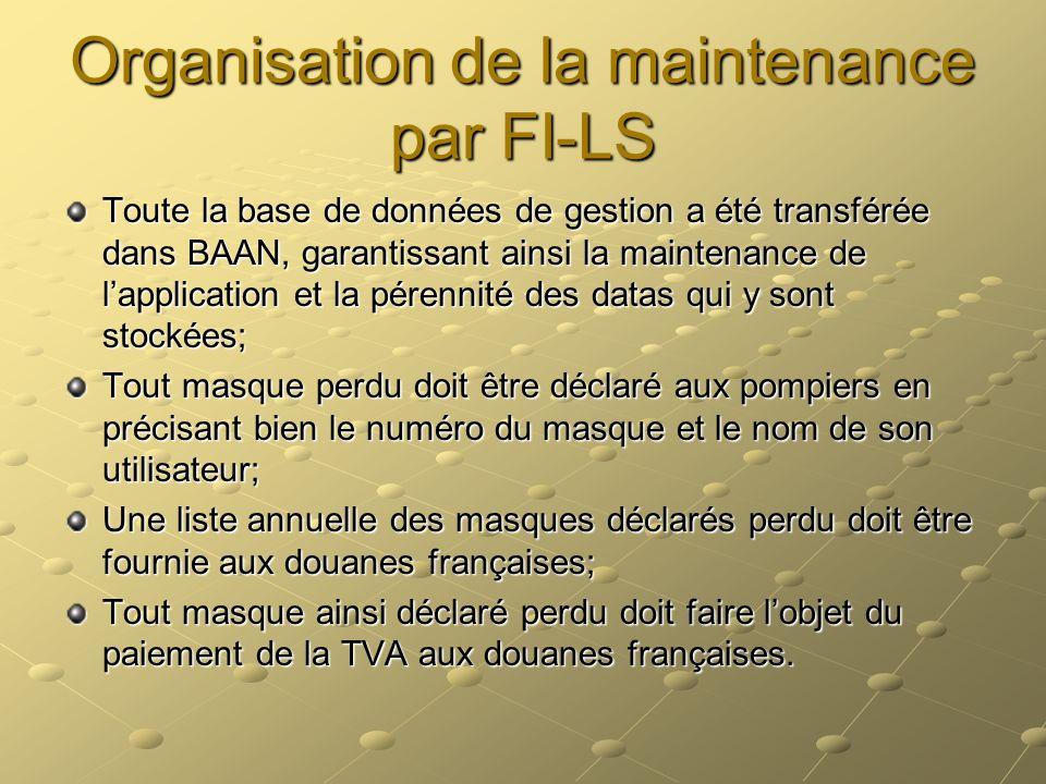Organisation de la maintenance par FI-LS Toute la base de données de gestion a été transférée dans BAAN, garantissant ainsi la maintenance de lapplica