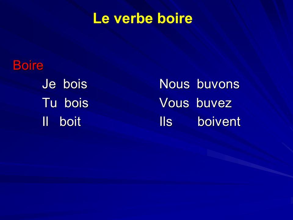 Boire Je boisNous buvons Tu boisVous buvez Il boitIls boivent Le verbe boire