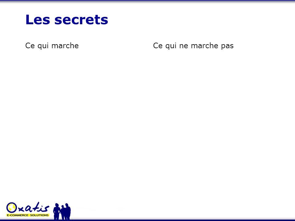 Les secrets Ce qui marcheCe qui ne marche pas