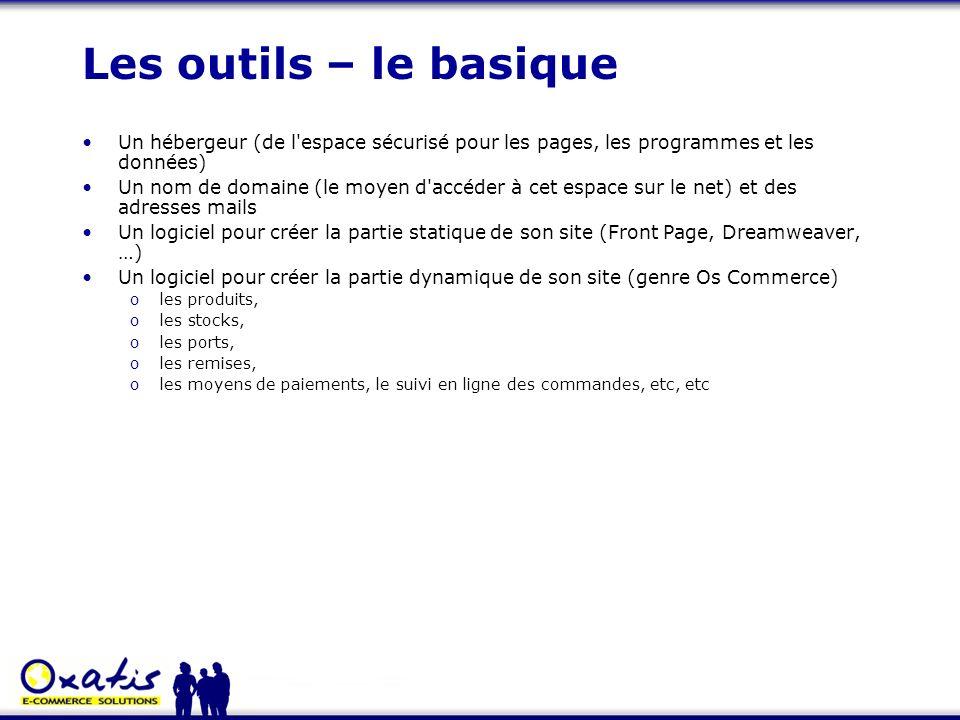 Les outils – le basique Un hébergeur (de l'espace sécurisé pour les pages, les programmes et les données) Un nom de domaine (le moyen d'accéder à cet