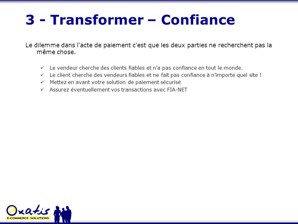 3 - Transformer – Confiance Le dilemme dans l'acte de paiement c'est que les deux parties ne recherchent pas la même chose. Le vendeur cherche des cli