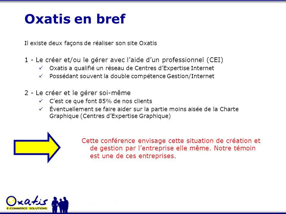 Oxatis en bref Il existe deux façons de réaliser son site Oxatis 1 - Le créer et/ou le gérer avec laide dun professionnel (CEI) Oxatis a qualifié un r