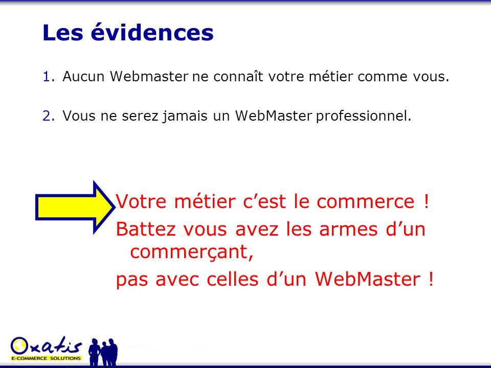 1.Aucun Webmaster ne connaît votre métier comme vous. 2.Vous ne serez jamais un WebMaster professionnel. Votre métier cest le commerce ! Battez vous a