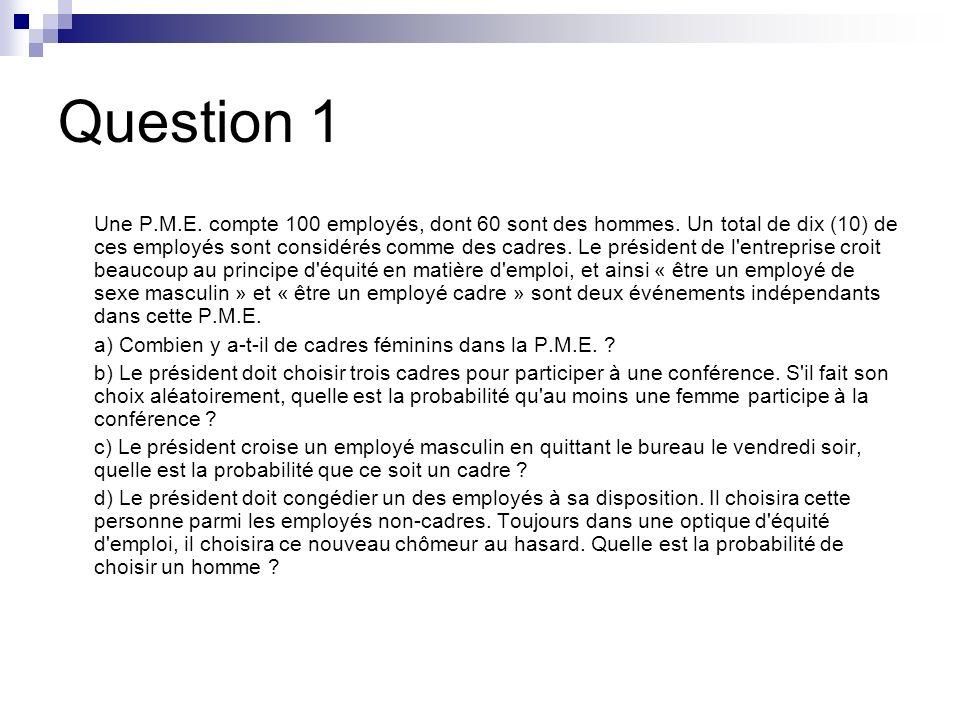 Question 1 Une P.M.E.compte 100 employés, dont 60 sont des hommes.