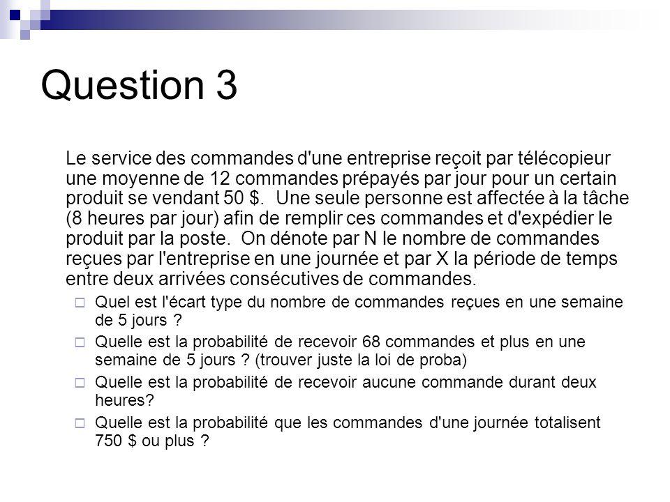 Question 3 Le service des commandes d une entreprise reçoit par télécopieur une moyenne de 12 commandes prépayés par jour pour un certain produit se vendant 50 $.
