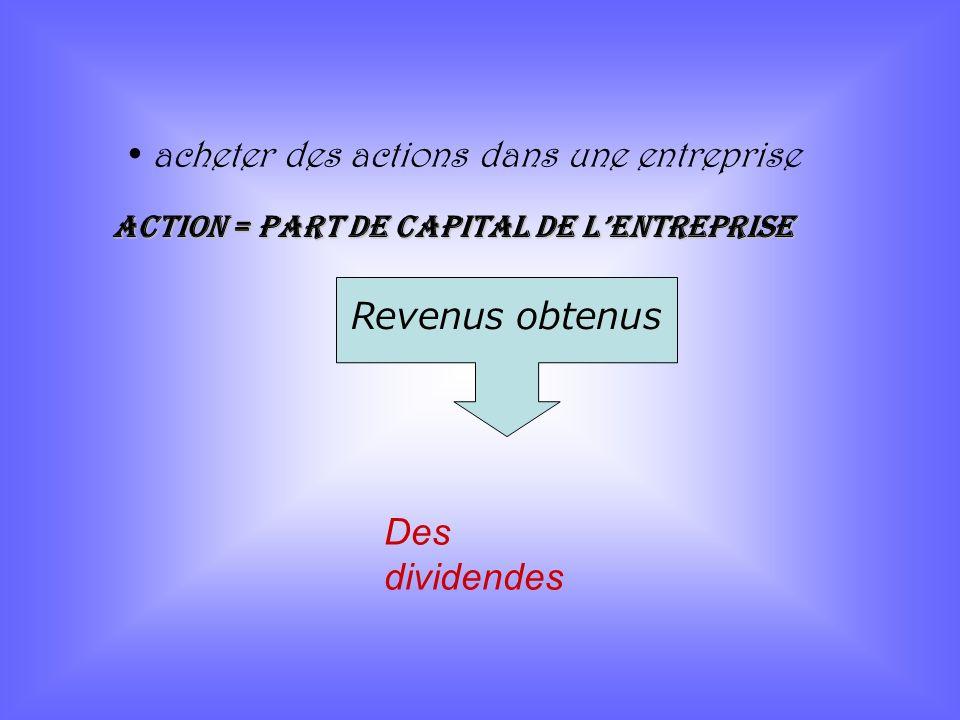 acheter des actions dans une entreprise Revenus obtenus Des dividendes Action = part de capital de lentreprise