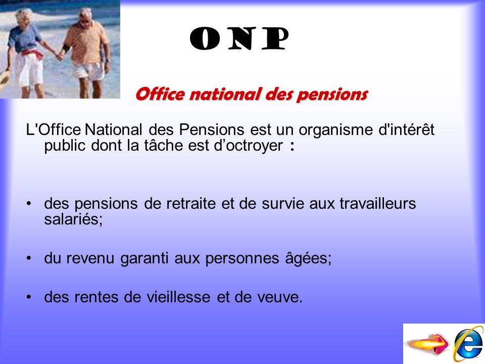 ONP L'Office National des Pensions est un organisme d'intérêt public dont la tâche est doctroyer : des pensions de retraite et de survie aux travaille