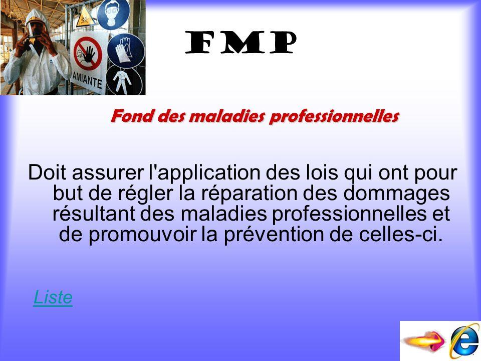 fmP Doit assurer l'application des lois qui ont pour but de régler la réparation des dommages résultant des maladies professionnelles et de promouvoir