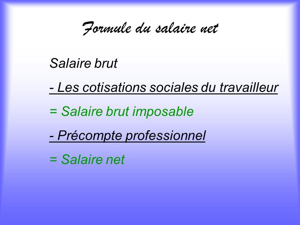 Formule du salaire net Salaire brut - Les cotisations sociales du travailleur = Salaire brut imposable - Précompte professionnel = Salaire net