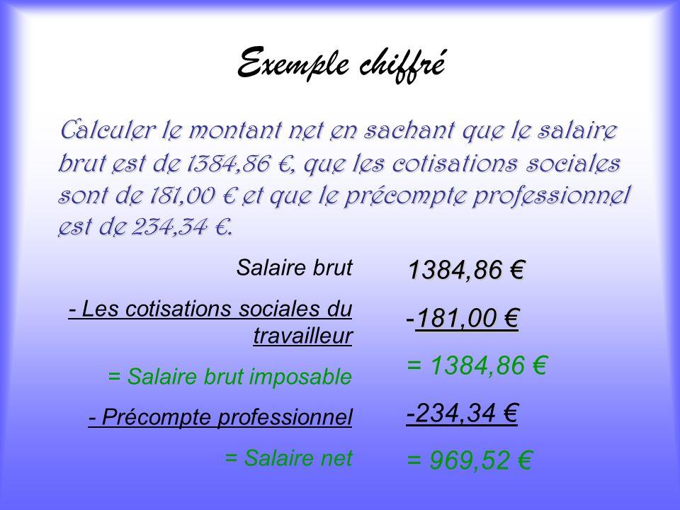 Exemple chiffré C alculer le montant net en sachant que le salaire brut est de 1384,86, que les cotisations sociales sont de 181,00 et que le précompt