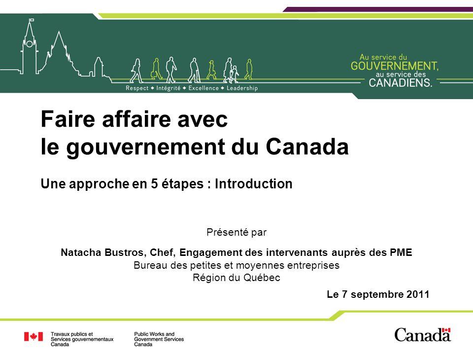 Faire affaire avec le gouvernement du Canada Une approche en 5 étapes : Introduction Présenté par Natacha Bustros, Chef, Engagement des intervenants a