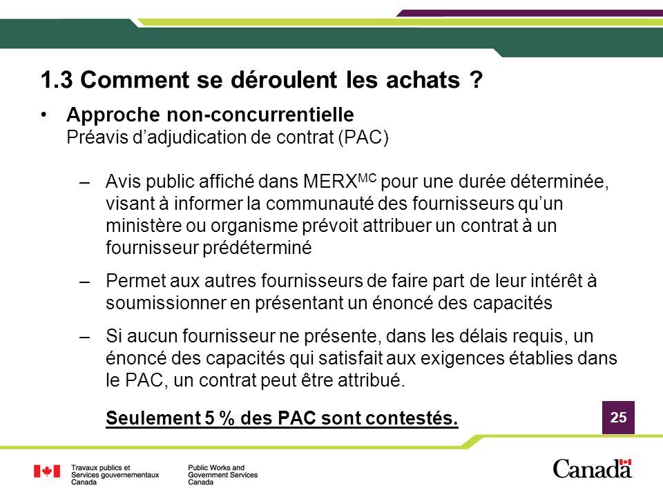 25 1.3 Comment se déroulent les achats ? Approche non-concurrentielle Préavis dadjudication de contrat (PAC) –Avis public affiché dans MERX MC pour un