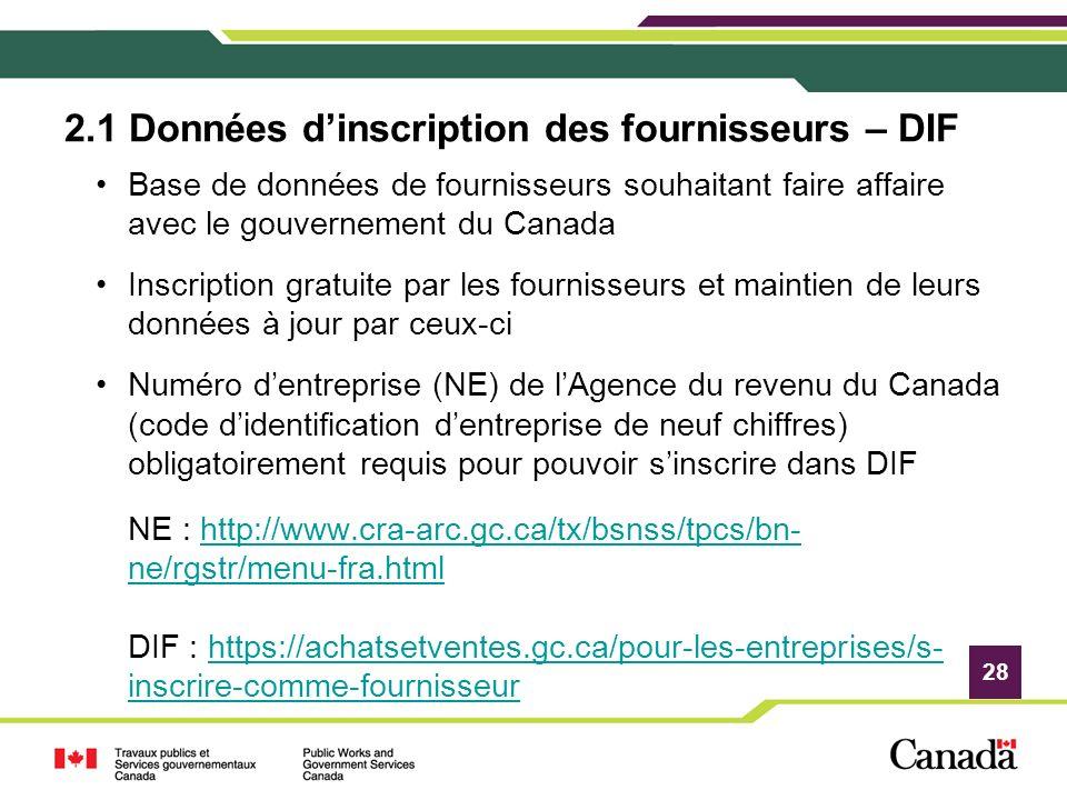 28 2.1 Données dinscription des fournisseurs – DIF Base de données de fournisseurs souhaitant faire affaire avec le gouvernement du Canada Inscription