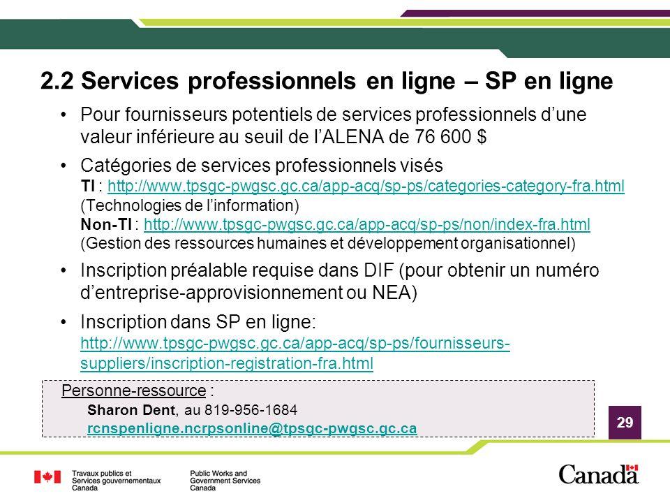 29 2.2 Services professionnels en ligne – SP en ligne Pour fournisseurs potentiels de services professionnels dune valeur inférieure au seuil de lALEN