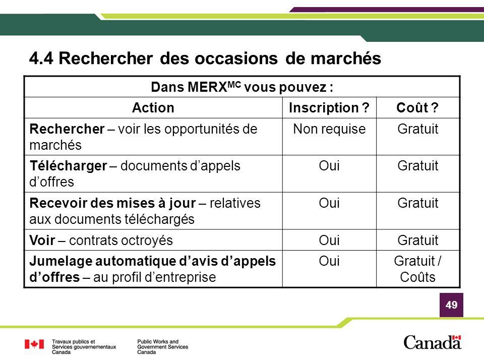 49 Dans MERX MC vous pouvez : ActionInscription ?Coût ? Rechercher – voir les opportunités de marchés Non requiseGratuit Télécharger – documents dappe