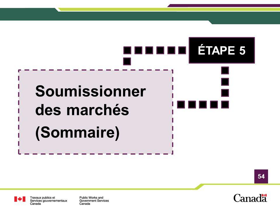 54 Soumissionner des marchés (Sommaire) ÉTAPE 5